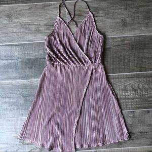 Mauve Shiny metallic Acordian Pleated Flowy dress